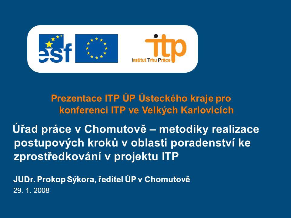 Prezentace ITP ÚP Ústeckého kraje pro konferenci ITP ve Velkých Karlovicích Úřad práce v Chomutově – metodiky realizace postupových kroků v oblasti poradenství ke zprostředkování v projektu ITP JUDr.