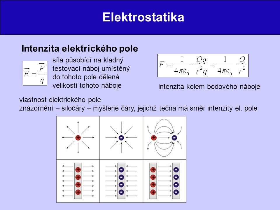 Elektrostatika Intenzita elektrického pole síla působící na kladný testovací náboj umístěný do tohoto pole dělená velikostí tohoto náboje intenzita kolem bodového náboje vlastnost elektrického pole znázornění – siločáry – myšlené čáry, jejichž tečna má směr intenzity el.