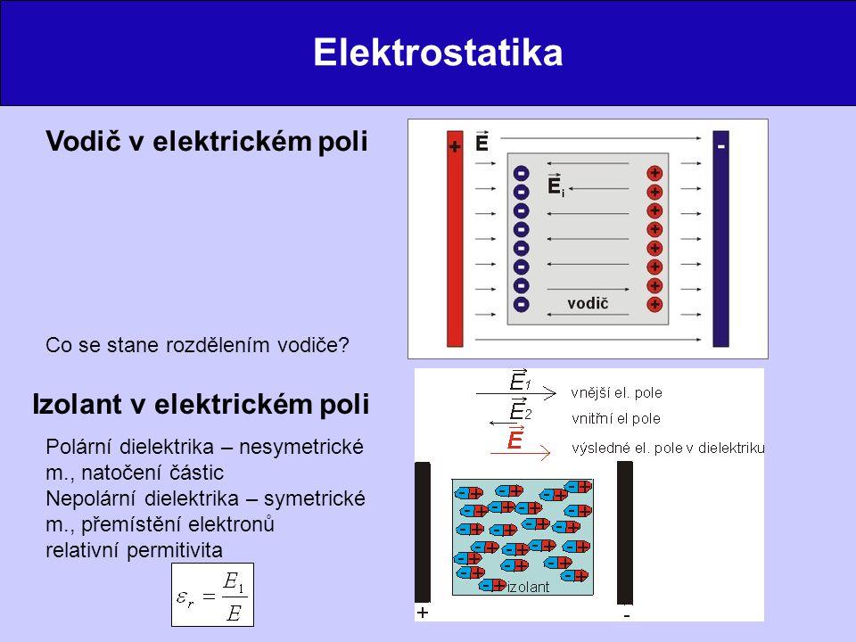 Elektrostatika Vodič v elektrickém poli Izolant v elektrickém poli Polární dielektrika – nesymetrické m., natočení částic Nepolární dielektrika – symetrické m., přemístění elektronů relativní permitivita Co se stane rozdělením vodiče?