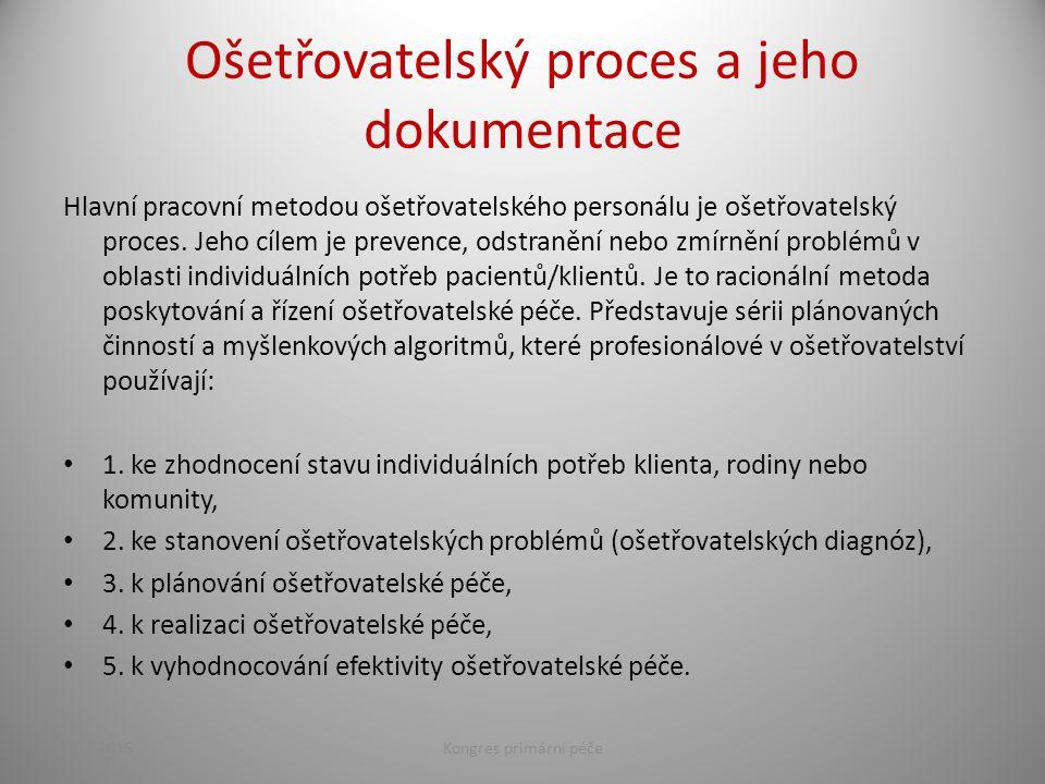 Ošetřovatelský proces a jeho dokumentace Hlavní pracovní metodou ošetřovatelského personálu je ošetřovatelský proces. Jeho cílem je prevence, odstraně