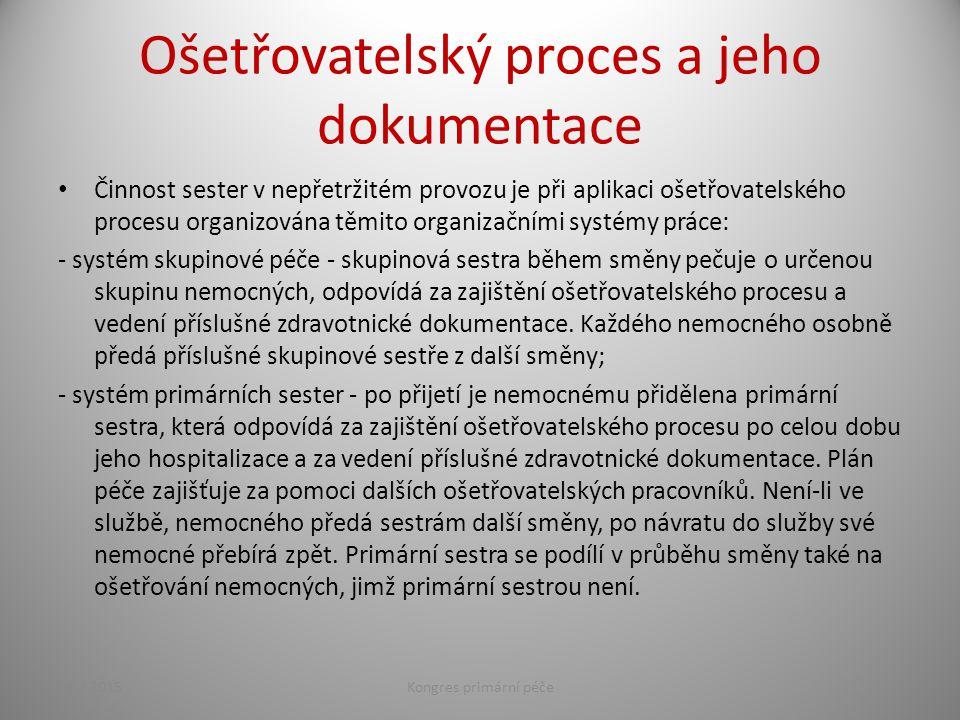 Ošetřovatelský proces a jeho dokumentace Činnost sester v nepřetržitém provozu je při aplikaci ošetřovatelského procesu organizována těmito organizačn