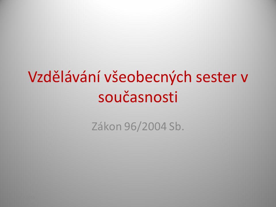 Vzdělávání všeobecných sester v současnosti Zákon 96/2004 Sb. 21.4.2015