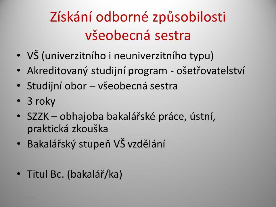 Získání odborné způsobilosti všeobecná sestra VŠ (univerzitního i neuniverzitního typu) Akreditovaný studijní program - ošetřovatelství Studijní obor