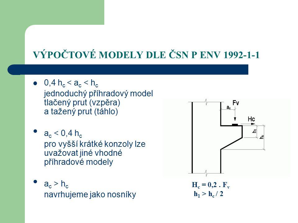 VÝPOČTOVÉ MODELY DLE ČSN P ENV 1992-1-1 0,4 h c < a c < h c jednoduchý příhradový model tlačený prut (vzpěra) a tažený prut (táhlo) a c < 0,4 h c pro