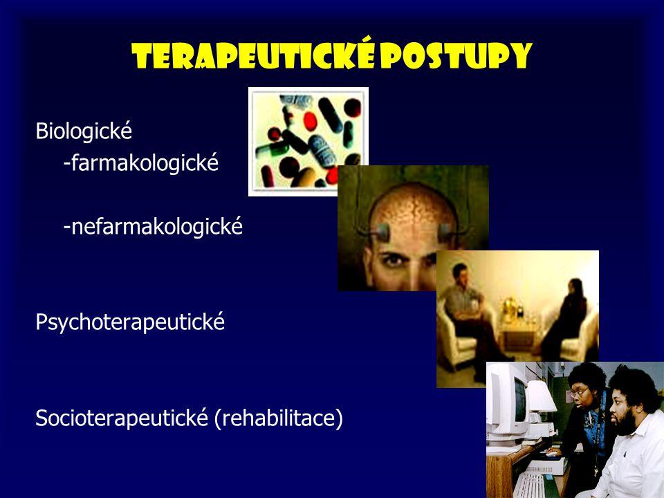 Terapeutické postupy Biologické -farmakologické -nefarmakologické Psychoterapeutické Socioterapeutické (rehabilitace)