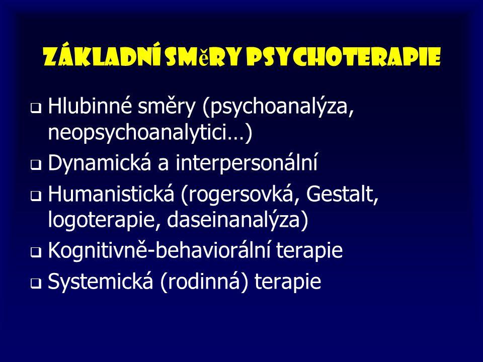 Základní sm ě ry psychoterapie   Hlubinné směry (psychoanalýza, neopsychoanalytici…)   Dynamická a interpersonální   Humanistická (rogersovká, G