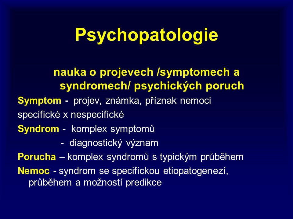 Psychopatologie nauka o projevech /symptomech a syndromech/ psychických poruch Symptom - projev, známka, příznak nemoci specifické x nespecifické Synd