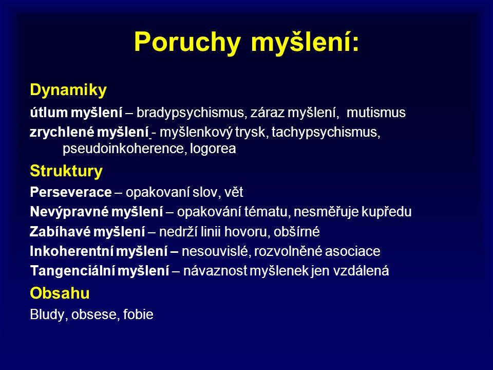 Poruchy myšlení: Dynamiky útlum myšlení – bradypsychismus, záraz myšlení, mutismus zrychlené myšlení - myšlenkový trysk, tachypsychismus, pseudoinkohe