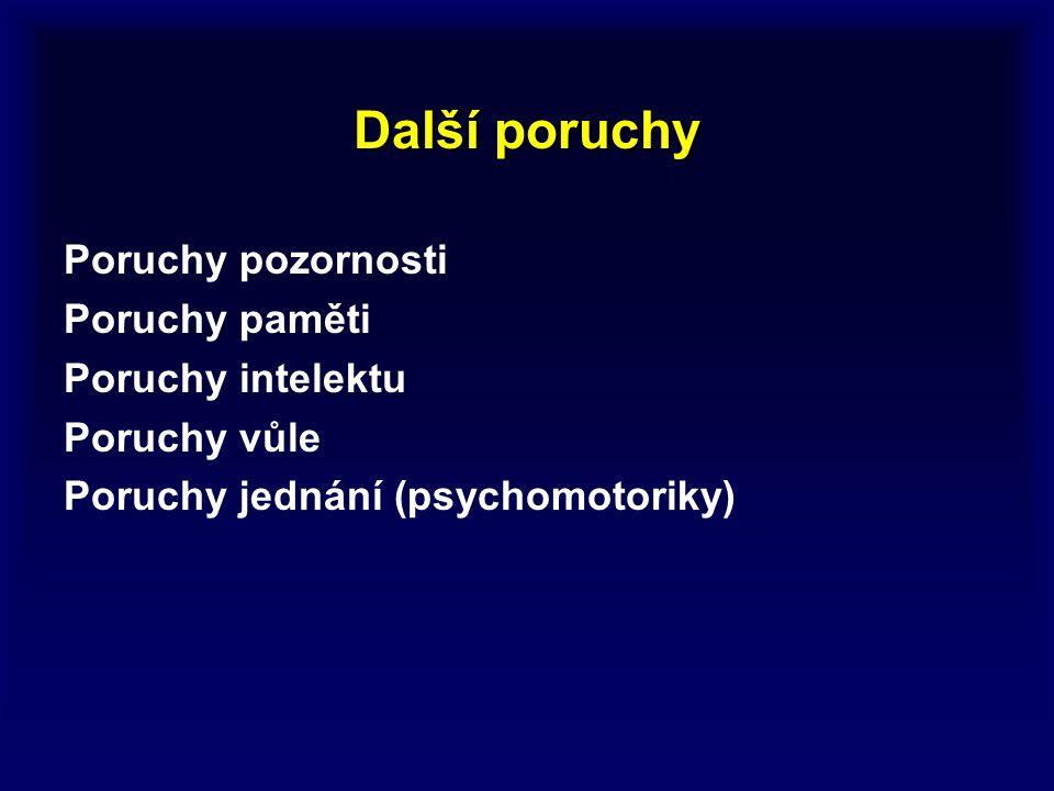 Další poruchy Poruchy pozornosti Poruchy paměti Poruchy intelektu Poruchy vůle Poruchy jednání (psychomotoriky)