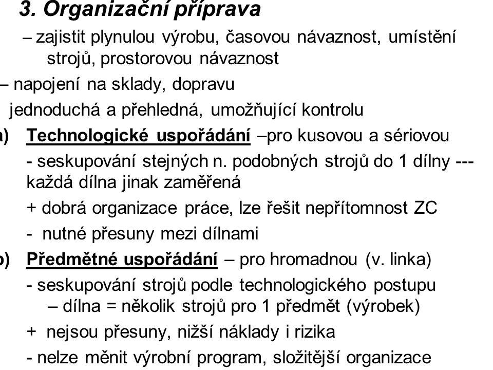 3. Organizační příprava – zajistit plynulou výrobu, časovou návaznost, umístění strojů, prostorovou návaznost – napojení na sklady, dopravu - jednoduc