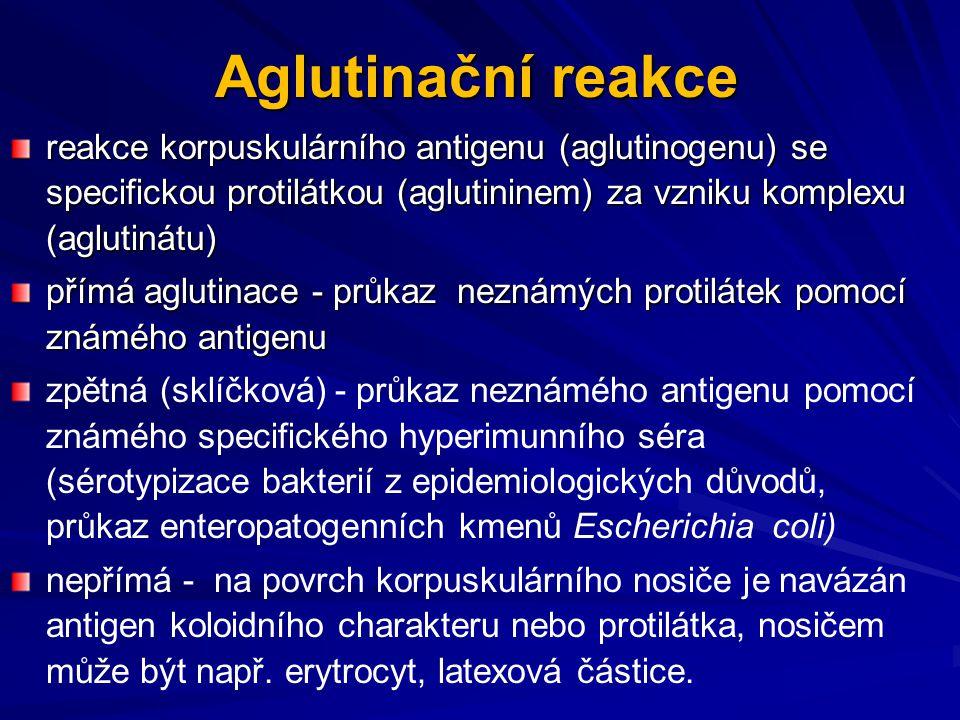 Aglutinační reakce reakce korpuskulárního antigenu (aglutinogenu) se specifickou protilátkou (aglutininem) za vzniku komplexu (aglutinátu) přímá aglut