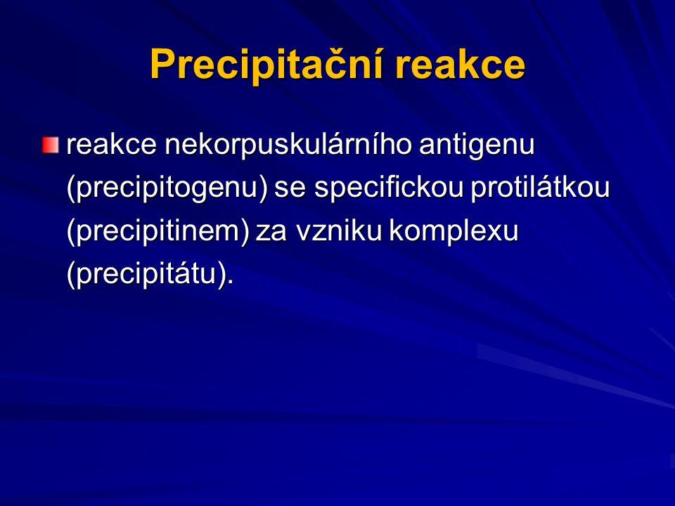 Precipitační reakce reakce nekorpuskulárního antigenu (precipitogenu) se specifickou protilátkou (precipitinem) za vzniku komplexu (precipitátu).