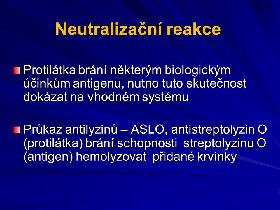 Neutralizační reakce Protilátka brání některým biologickým účinkům antigenu, nutno tuto skutečnost dokázat na vhodném systému Průkaz antilyzinů – ASLO