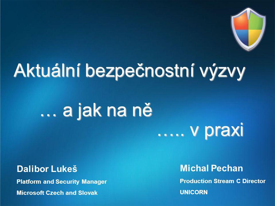 Aktuální bezpečnostní výzvy … a jak na ně ….. v praxi Dalibor Lukeš Platform and Security Manager Microsoft Czech and Slovak Michal Pechan Production