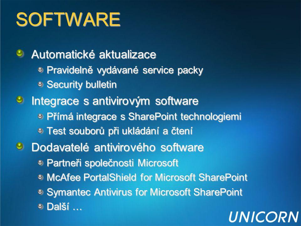 SOFTWARE Automatické aktualizace Pravidelně vydávané service packy Security bulletin Integrace s antivirovým software Přímá integrace s SharePoint tec