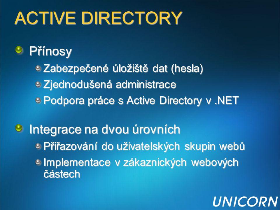ACTIVE DIRECTORY Přínosy Zabezpečené úložiště dat (hesla) Zjednodušená administrace Podpora práce s Active Directory v.NET Integrace na dvou úrovních