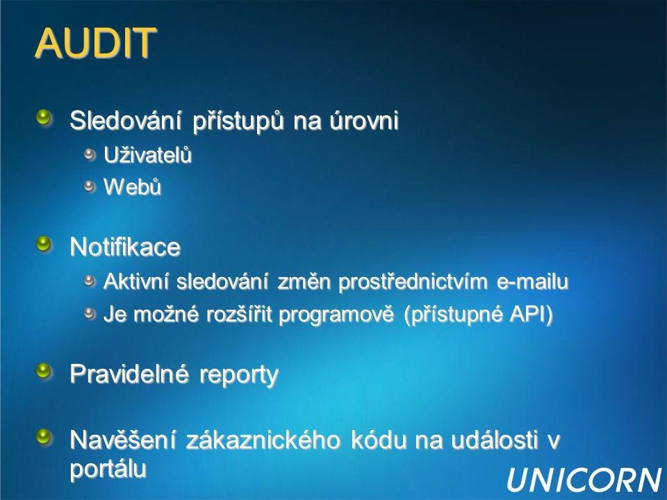 AUDIT Sledování přístupů na úrovni UživatelůWebůNotifikace Aktivní sledování změn prostřednictvím e-mailu Je možné rozšířit programově (přístupné API)