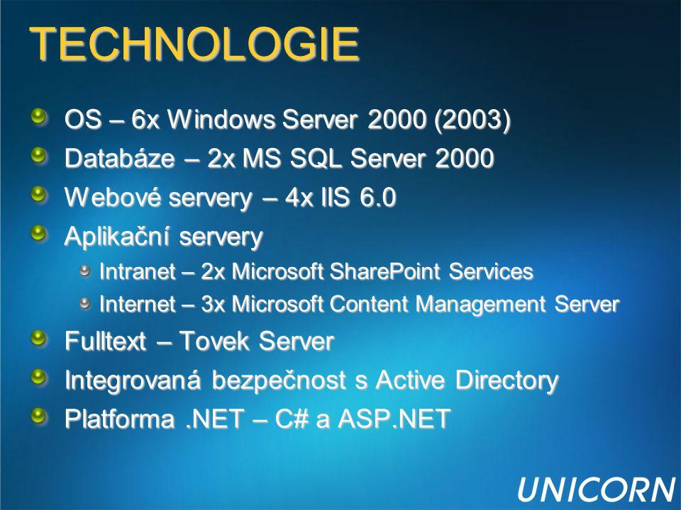 TECHNOLOGIE OS – 6x Windows Server 2000 (2003) Databáze – 2x MS SQL Server 2000 Webové servery – 4x IIS 6.0 Aplikační servery Intranet – 2x Microsoft