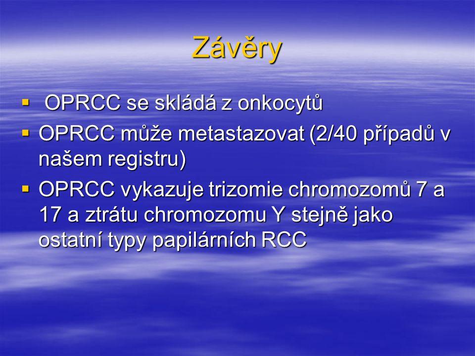 Závěry  OPRCC se skládá z onkocytů  OPRCC může metastazovat (2/40 případů v našem registru)  OPRCC vykazuje trizomie chromozomů 7 a 17 a ztrátu chromozomu Y stejně jako ostatní typy papilárních RCC