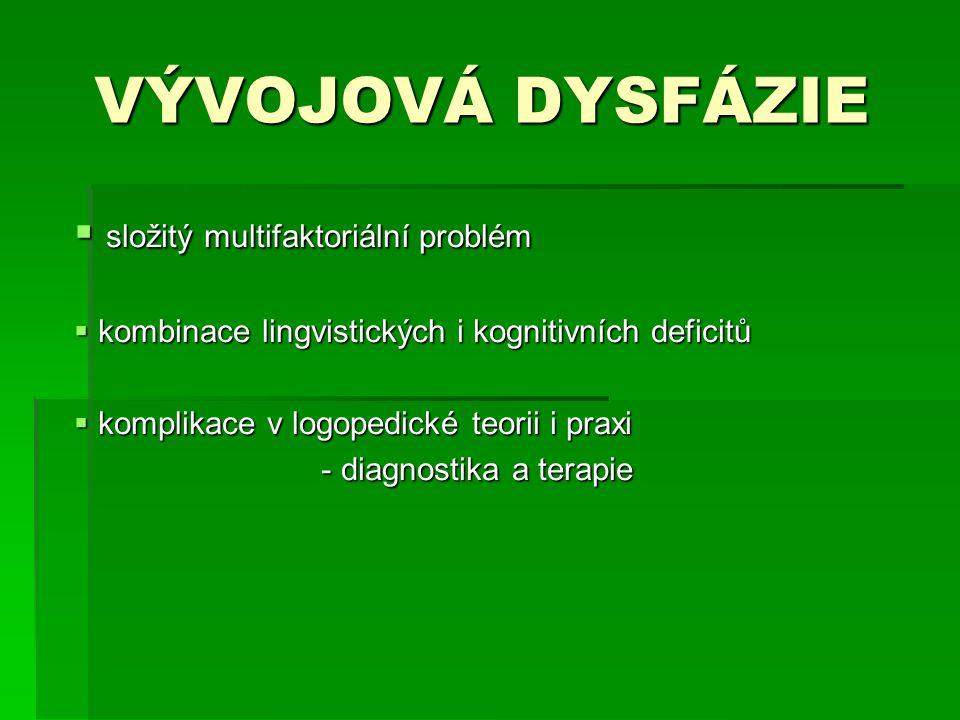 VÝVOJOVÁ DYSFÁZIE VÝVOJOVÁ DYSFÁZIE  složitý multifaktoriální problém  kombinace lingvistických i kognitivních deficitů  komplikace v logopedické t