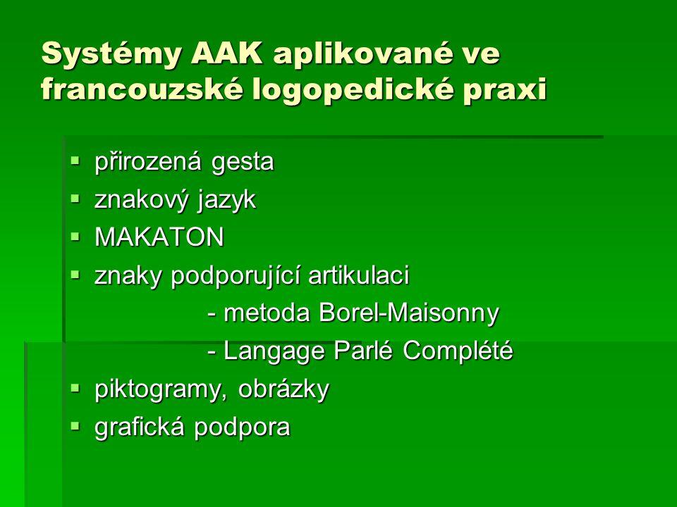 Systémy AAK aplikované ve francouzské logopedické praxi  přirozená gesta  znakový jazyk  MAKATON  znaky podporující artikulaci - metoda Borel-Mais