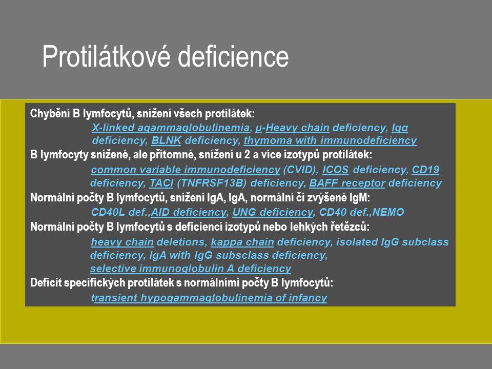 Chybění B lymfocytů, snížení všech protilátek: X-linked agammaglobulinemiaX-linked agammaglobulinemia, μ-Heavy chain deficiency, Igα deficiency, BLNK