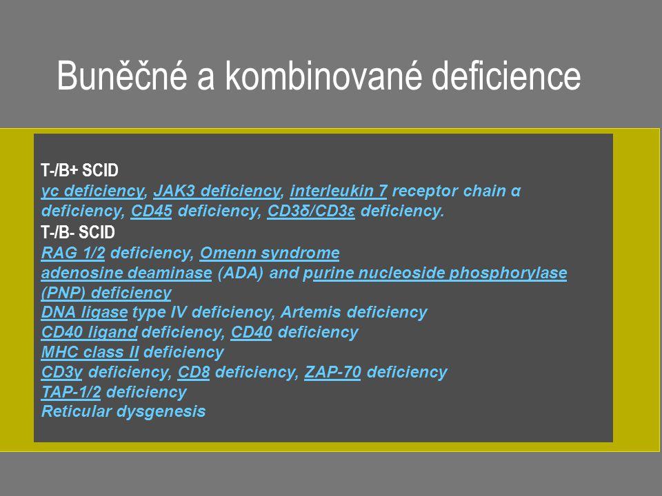 T-/B+ SCID γc deficiencyγc deficiency, JAK3 deficiency, interleukin 7 receptor chain α deficiency, CD45 deficiency, CD3δ/CD3ε deficiency.JAK3 deficien