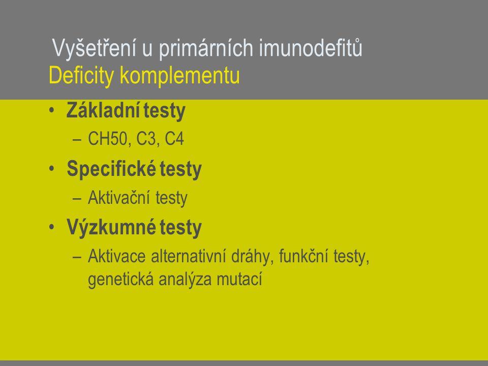 Vyšetření u primárních imunodefitů Deficity komplementu Základní testy –CH50, C3, C4 Specifické testy –Aktivační testy Výzkumné testy –Aktivace altern