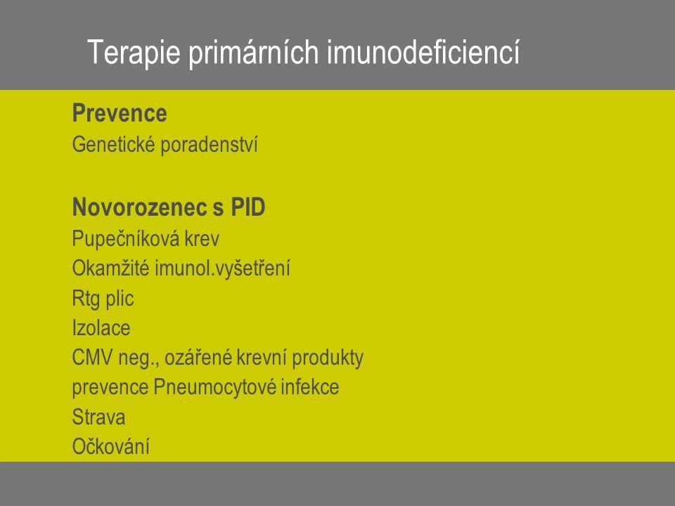 Terapie primárních imunodeficiencí Prevence Genetické poradenství Novorozenec s PID Pupečníková krev Okamžité imunol.vyšetření Rtg plic Izolace CMV ne