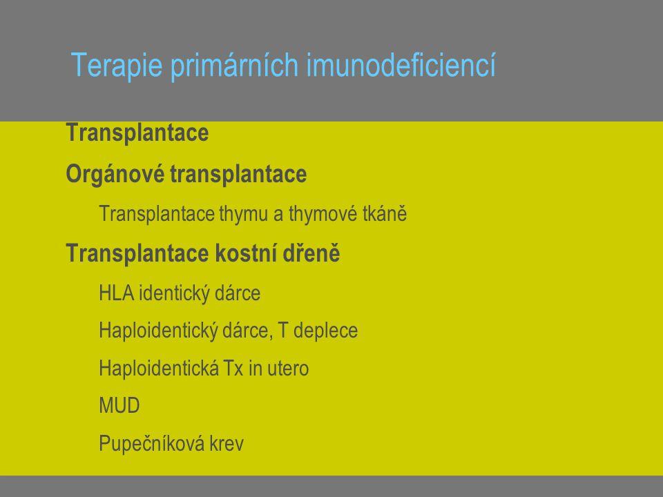 Terapie primárních imunodeficiencí Transplantace Orgánové transplantace Transplantace thymu a thymové tkáně Transplantace kostní dřeně HLA identický d
