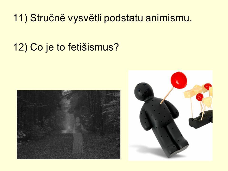 11) Stručně vysvětli podstatu animismu. 12) Co je to fetišismus?