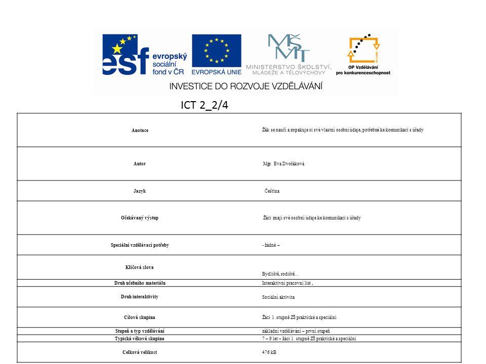 ICT 2_2/4 Anotace Žák se naučí a zopakuje si své vlastní osobní údaje, potřebné ke komunikaci s úřady Autor Mgr.