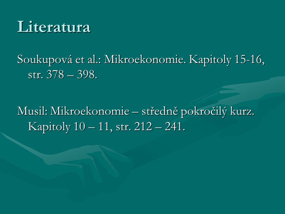 Literatura Soukupová et al.: Mikroekonomie.Kapitoly 15-16, str.