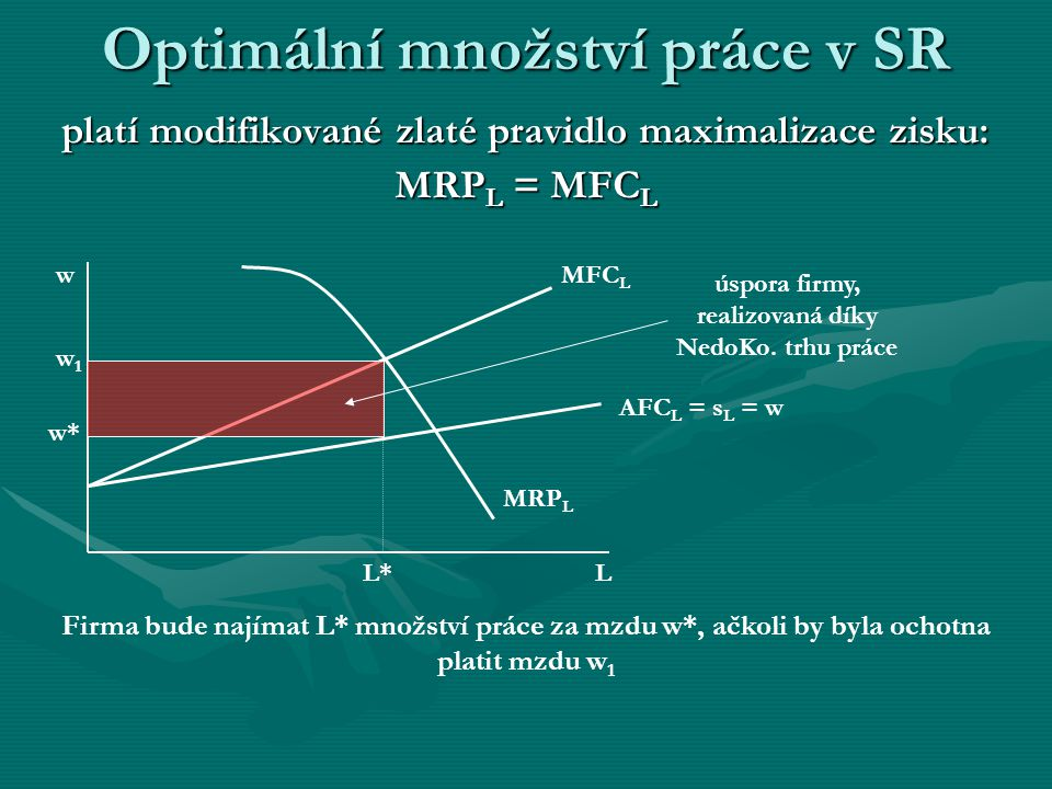 Optimální množství práce v SR platí modifikované zlaté pravidlo maximalizace zisku: MRPL = MFCL AFC L = s L = w MFC L L w MRP L w1w1 w* úspora firmy, realizovaná díky NedoKo.