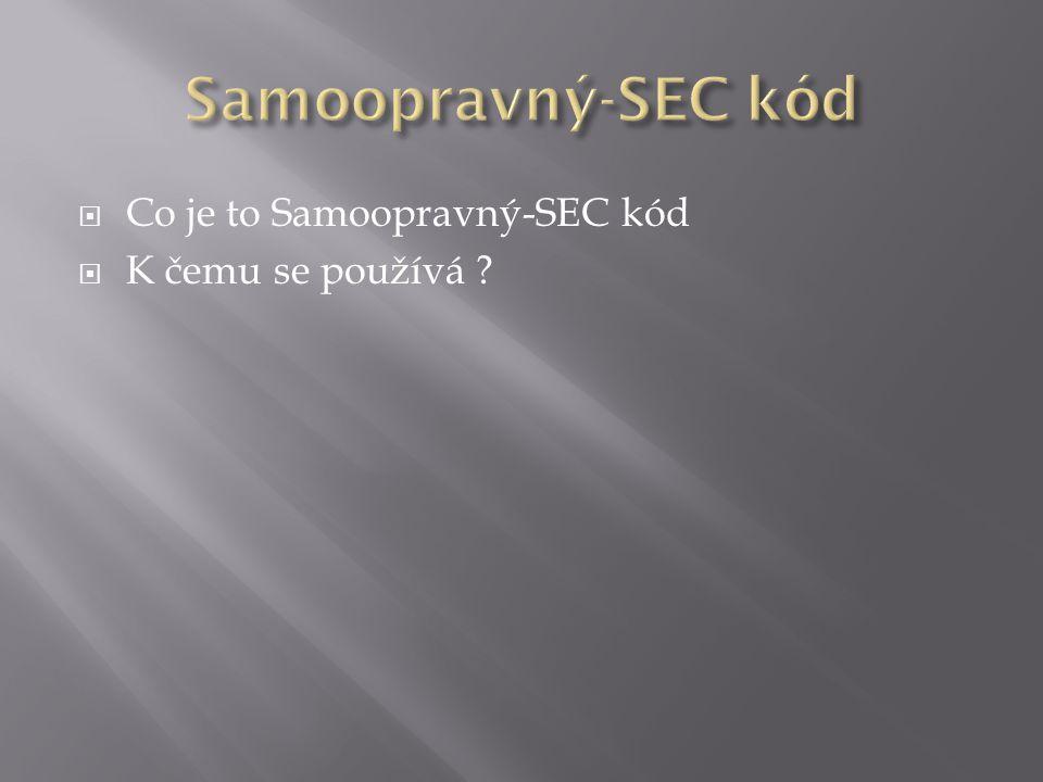  Co je to Samoopravný-SEC kód  K čemu se používá ?