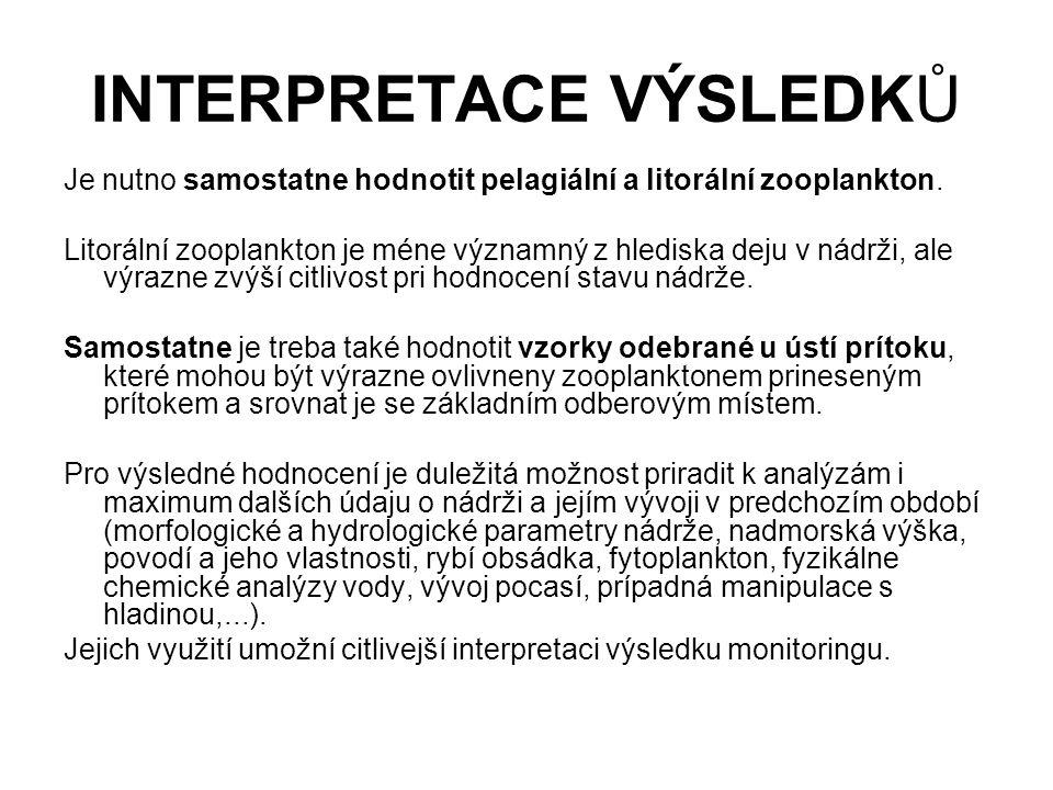INTERPRETACE VÝSLEDKŮ Je nutno samostatne hodnotit pelagiální a litorální zooplankton. Litorální zooplankton je méne významný z hlediska deju v nádrži