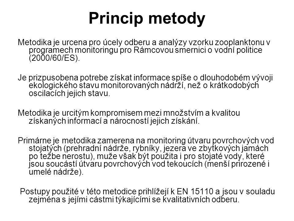 Princip metody Metodika je urcena pro úcely odberu a analýzy vzorku zooplanktonu v programech monitoringu pro Rámcovou smernici o vodní politice (2000