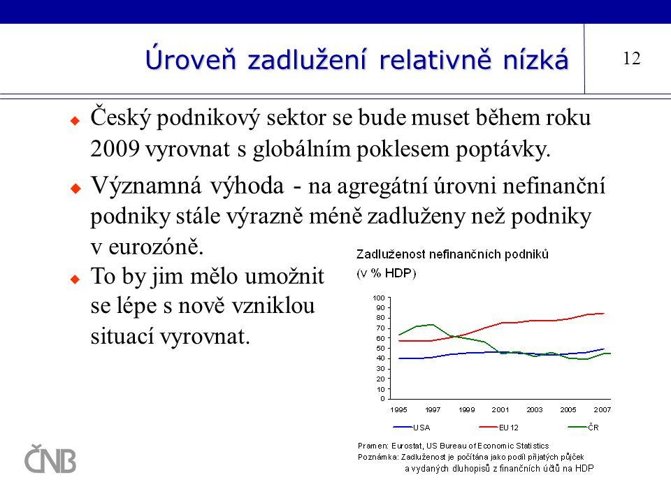Úroveň zadlužení relativně nízká 12  Český podnikový sektor se bude muset během roku 2009 vyrovnat s globálním poklesem poptávky.  Významná výhoda -