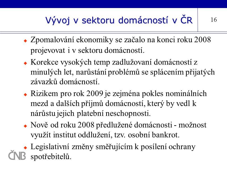 Vývoj v sektoru domácností v ČR 16  Zpomalování ekonomiky se začalo na konci roku 2008 projevovat i v sektoru domácností.  Korekce vysokých temp zad