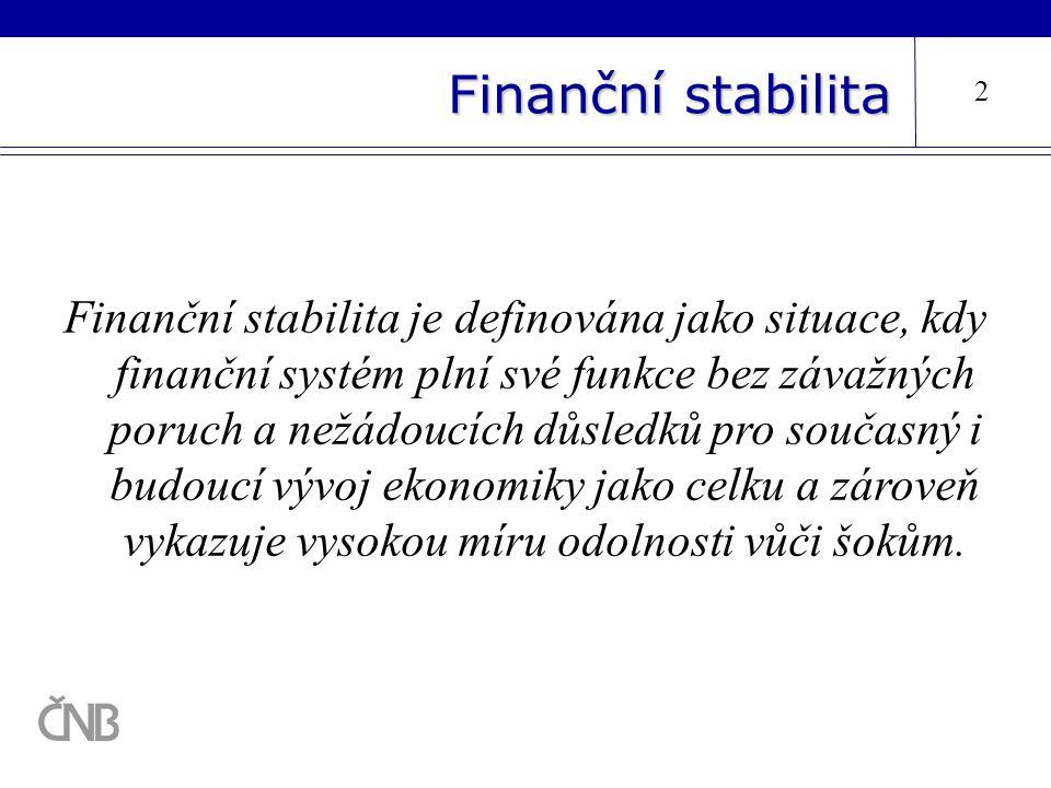 Finanční stabilita 2 Finanční stabilita je definována jako situace, kdy finanční systém plní své funkce bez závažných poruch a nežádoucích důsledků pr