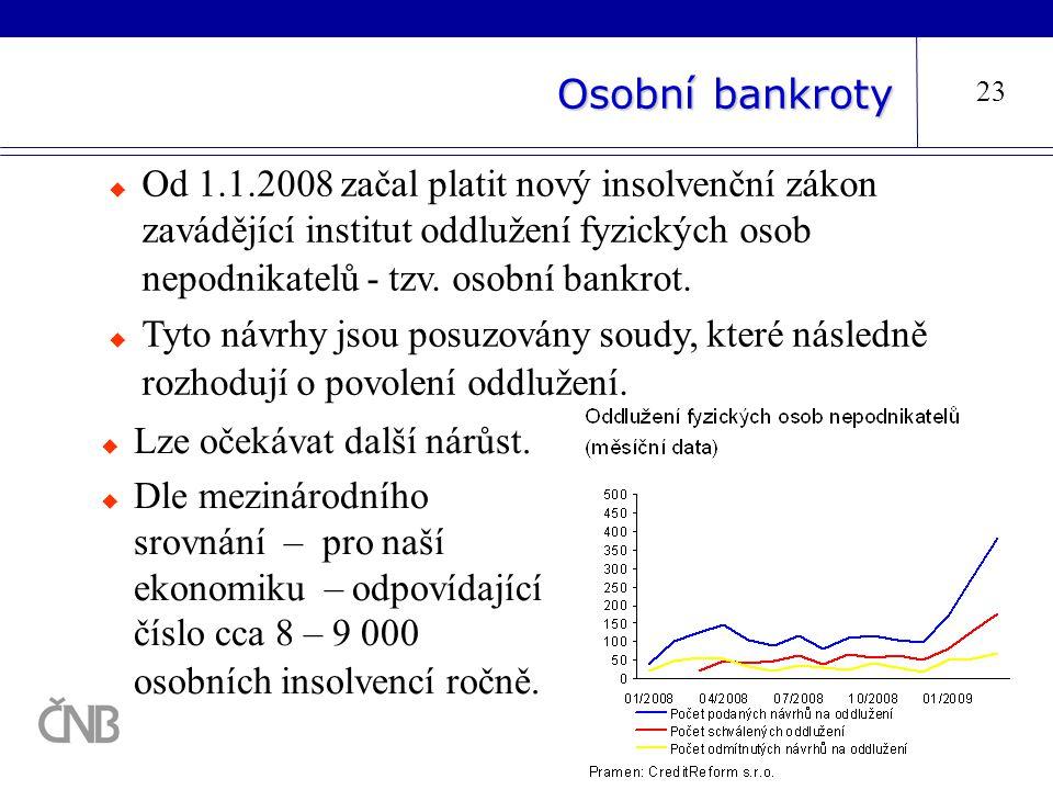 Osobní bankroty 23  Od 1.1.2008 začal platit nový insolvenční zákon zavádějící institut oddlužení fyzických osob nepodnikatelů - tzv. osobní bankrot.