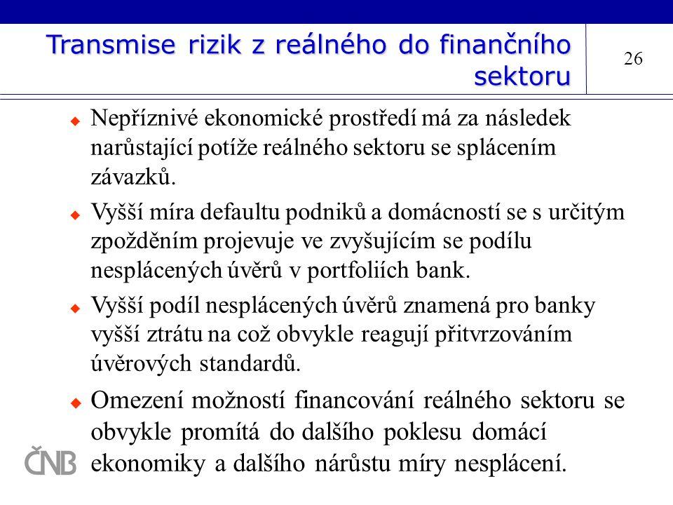 Transmise rizik z reálného do finančního sektoru 26  Nepříznivé ekonomické prostředí má za následek narůstající potíže reálného sektoru se splácením
