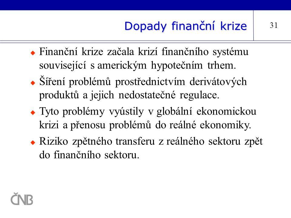 Dopady finanční krize 31  Finanční krize začala krizí finančního systému související s americkým hypotečním trhem.  Šíření problémů prostřednictvím