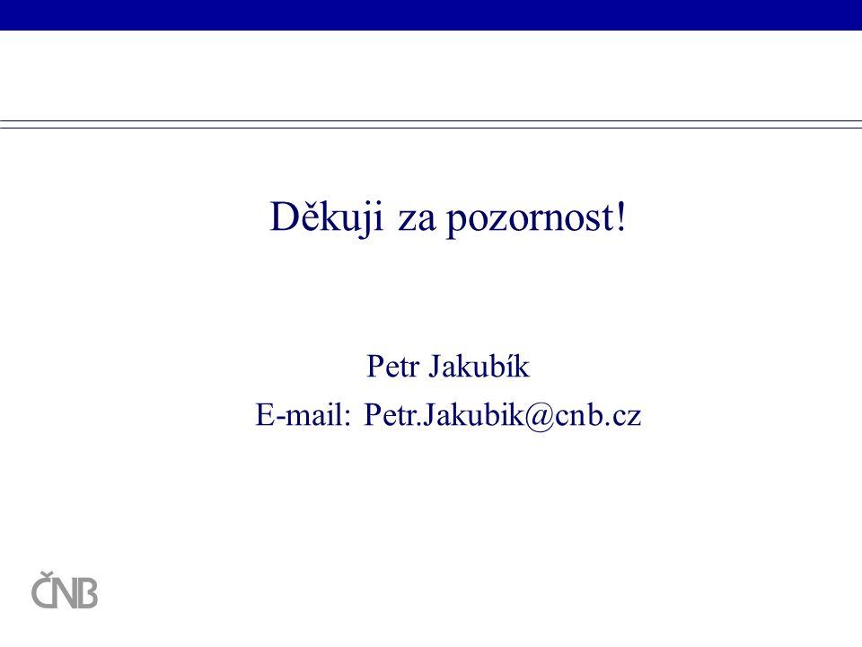 Děkuji za pozornost! Petr Jakubík E-mail: Petr.Jakubik@cnb.cz