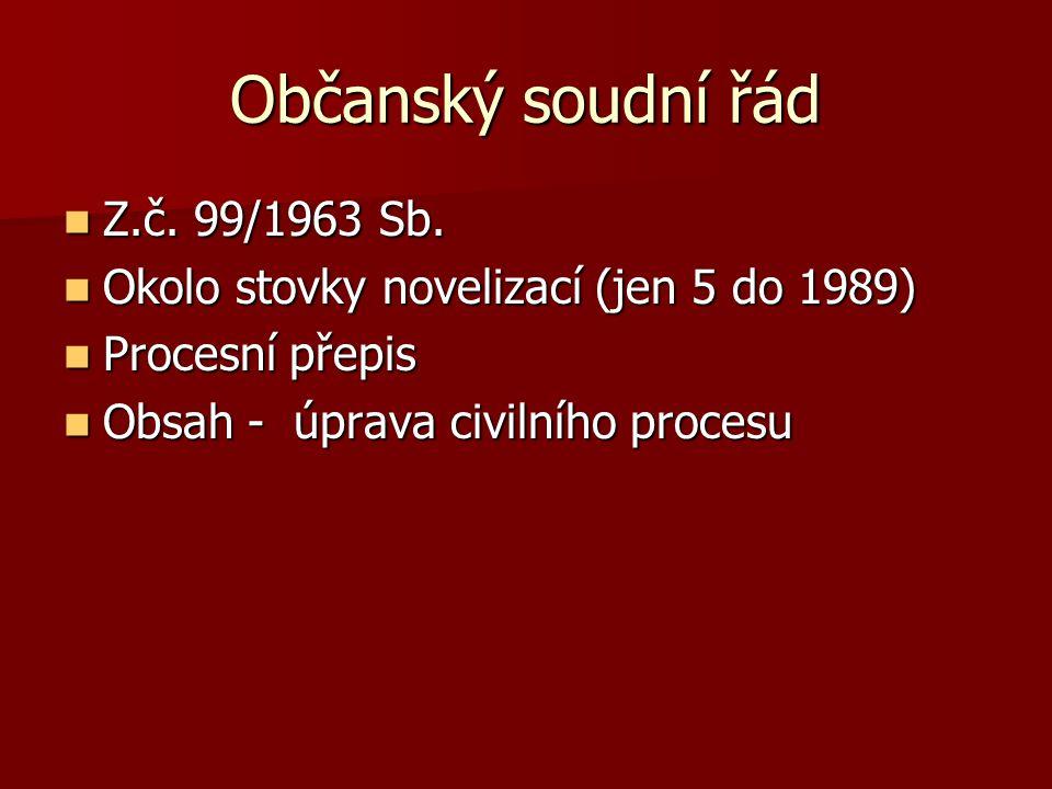 Občanský soudní řád Z.č. 99/1963 Sb. Z.č. 99/1963 Sb.