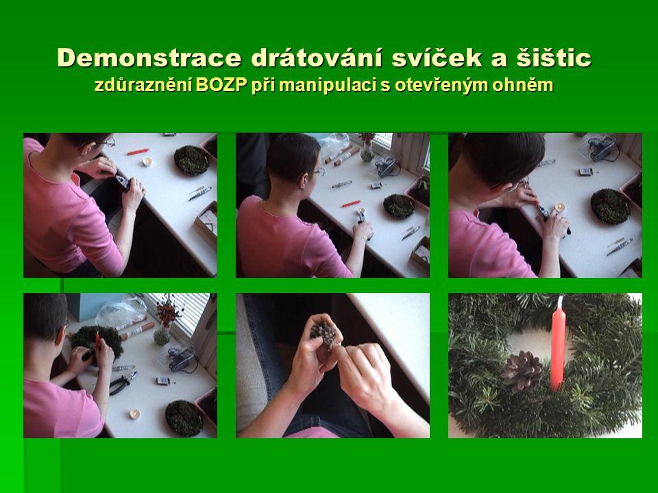 Demonstrace drátování svíček a šištic zdůraznění BOZP při manipulaci s otevřeným ohněm