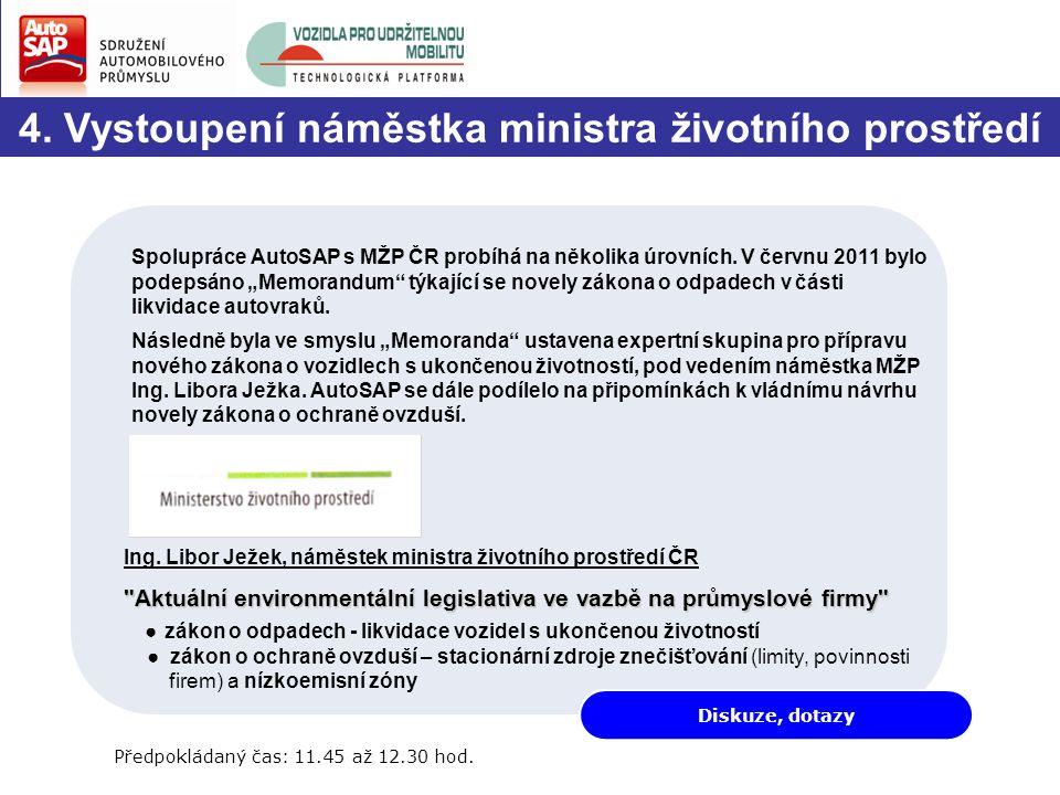"""4. Vystoupení náměstka ministra životního prostředí Spolupráce AutoSAP s MŽP ČR probíhá na několika úrovních. V červnu 2011 bylo podepsáno """"Memorandum"""