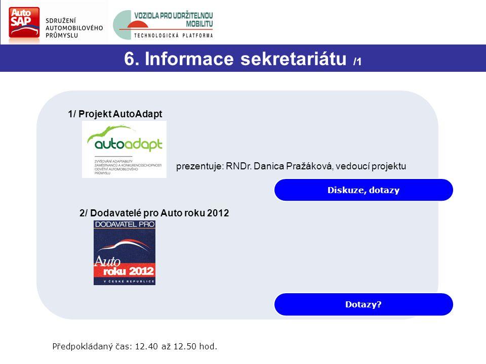 Diskuze, dotazy 6. Informace sekretariátu /1 1/ Projekt AutoAdapt prezentuje: RNDr. Danica Pražáková, vedoucí projektu 2/ Dodavatelé pro Auto roku 201