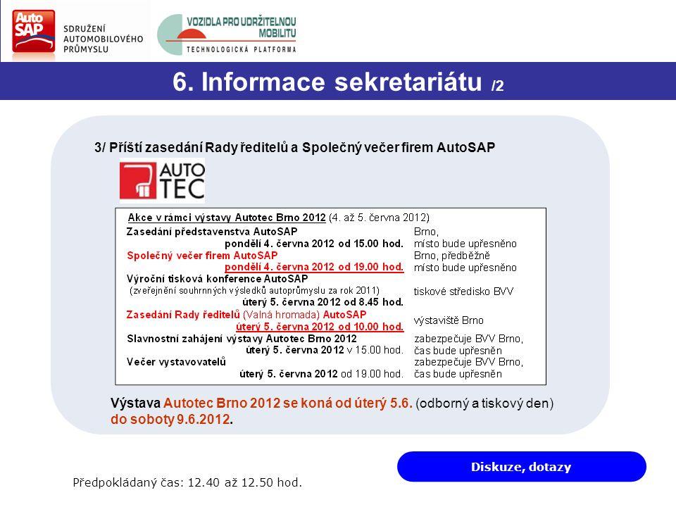Diskuze, dotazy 6. Informace sekretariátu /2 3/ Příští zasedání Rady ředitelů a Společný večer firem AutoSAP Výstava Autotec Brno 2012 se koná od úter