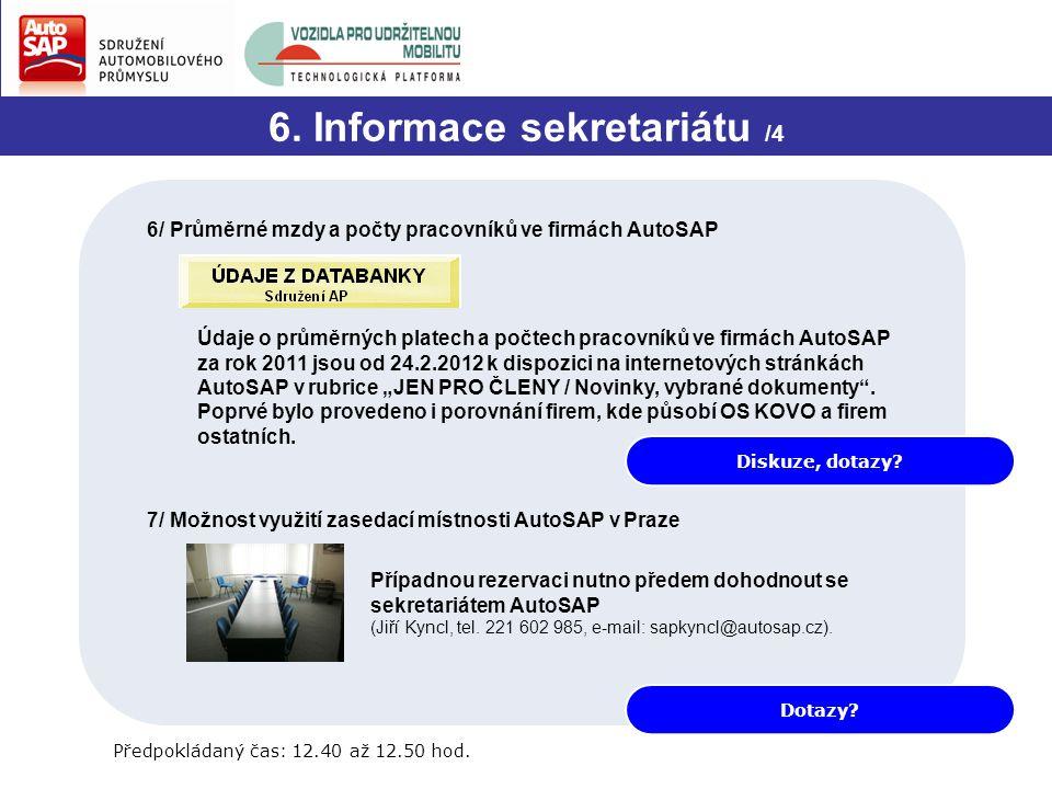 Diskuze, dotazy? 6. Informace sekretariátu /4 6/ Průměrné mzdy a počty pracovníků ve firmách AutoSAP Údaje o průměrných platech a počtech pracovníků v
